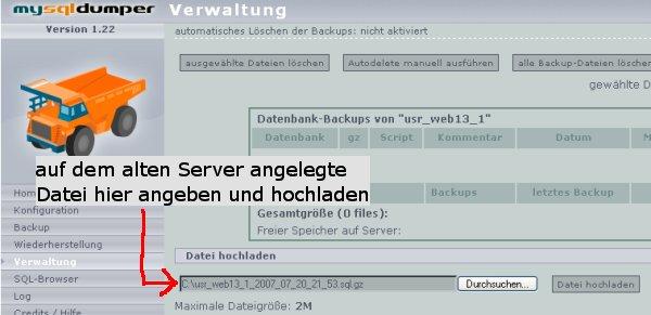 MySQL Backup hochladen