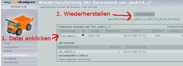 MySQL Backup einspielen